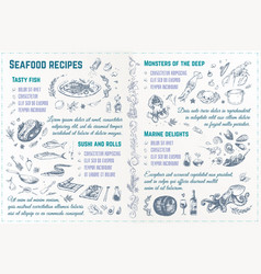 Seafood recipes hand drawn sketches vector