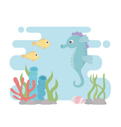 seahorse fishes life coral reef cartoon under the vector image