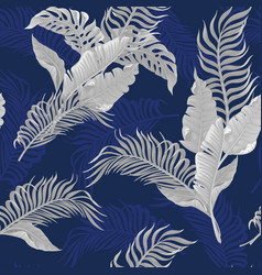 seamless pattern with white tropical leaves vector image