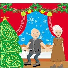 Senior couple spending the holidays at home vector image