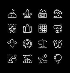 set line icons of travel vector image