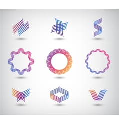 set of abstract line vector image