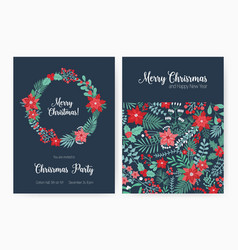 Set of christmas party invitation event vector