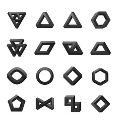 set of impossible shapes optical isolated on vector image