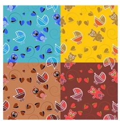 set of patterns for childrens themes vector image