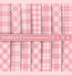 Set pink tartan plaid seamless patterns vector