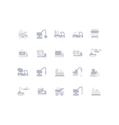 set simple icons construction transport vector image