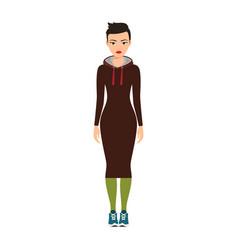 short haired girl in long dress vector image