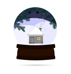 snow ball with a winter landscape with a house in vector image