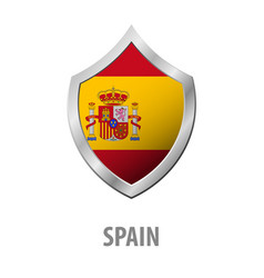 Spain flag on metal shiny shield vector