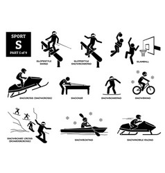 sport games alphabet s icons pictograph slopestyle vector image