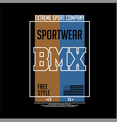 Sportwear extreme sport bmx vintage fashion vector