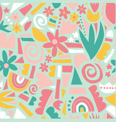 spring or summer flowers and geometric shapes vector image
