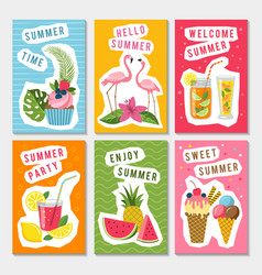summer party labels set with different vector image