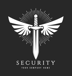 Sword with wings security company emblem vector