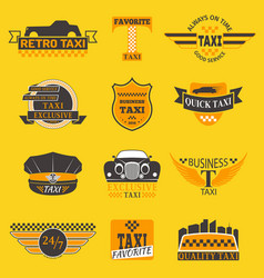 Taxi logos label badge templates design vector