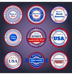 Trade labels and stickers on Made in the USA vector image vector image