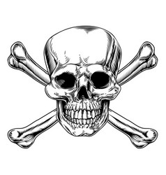 Vintage skull and crossbones sign vector