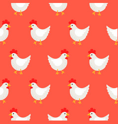 white rooster cute rural seamless pattern vector image