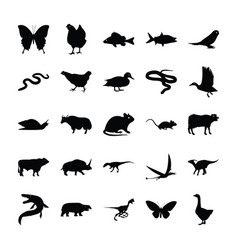 Wild animals solid icons vector