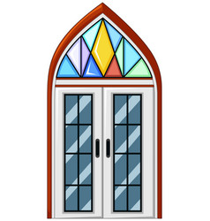 window with mosaic glass vector image