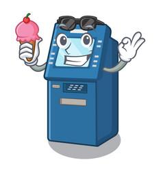 With ice cream atm machine in cartoon shape vector