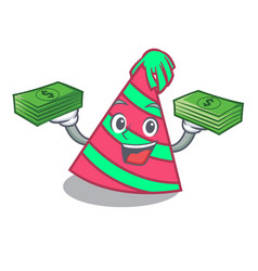 With money bag party hat mascot cartoon vector