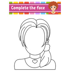 Worksheet complete face coloring book for vector