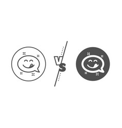 Yummy smile line icon emoticon with tongue sign vector