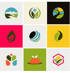 ecology environment logos vector image vector image