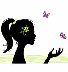 girl silhouette with butterfly vector image vector image