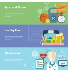 Healthy lifestyle flat banners set vector image vector image