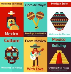 Mexico retro poster vector image vector image