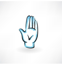 palm hand grunge icon vector image