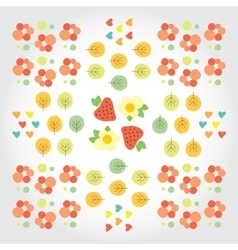 Sweet summer pattern with green trees red vector image