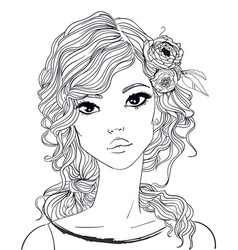 portrait of a young woman with long hair vector image vector image