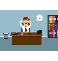 Stressful businessman has a lot telephone calls vector image vector image