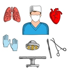 Surgeon profession and medical icons vector image vector image