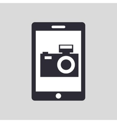 tablet hand hold with camera picture vector image vector image