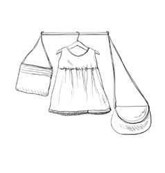 Baby dress sketch Clothes on the hanger Hand vector image