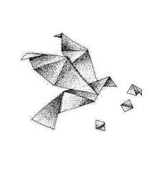 Dotwork origami bird vector