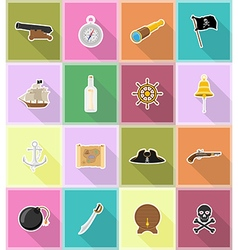pirate flat icons 18 vector image