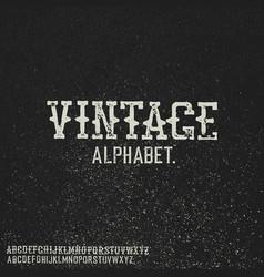 vintage stamp alphabet on black grunge background vector image vector image