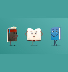 cute books characters set vector image