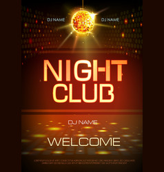 Disco ball background neon sign night club poster vector
