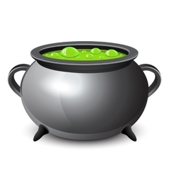Halloween witches cauldron with green potion vector image