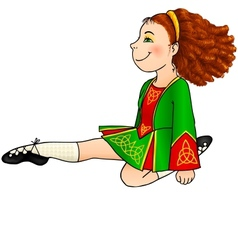 Irish dancing girl in traditional dress vector image