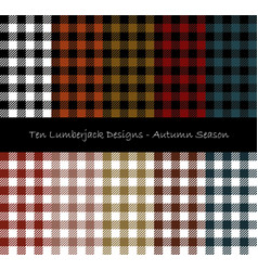 lumberjack seamless pattern collection vector image