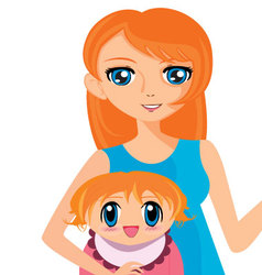 manga girl with baby vector image vector image