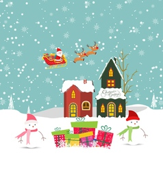 Merry christmas card with santa claus snowman gift vector image vector image